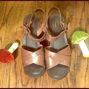 Kork- Ease brown leather platform sandals